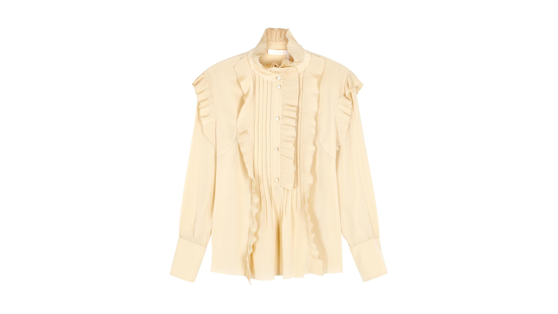 50f48385994f78 Chloé Pleated high-neck silk crepe de chine blouse - Harvey Nichols