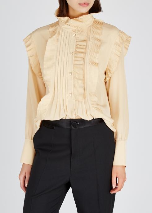 b5a689e46c6ffa Chloé Pleated high-neck silk crepe de chine blouse - Harvey Nichols