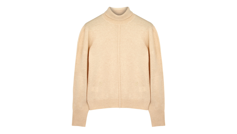 Sand roll-neck cashmere jumper