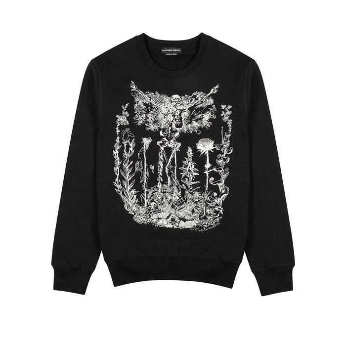 Alexander McQueen Etched Skeleton Cotton Sweatshirt
