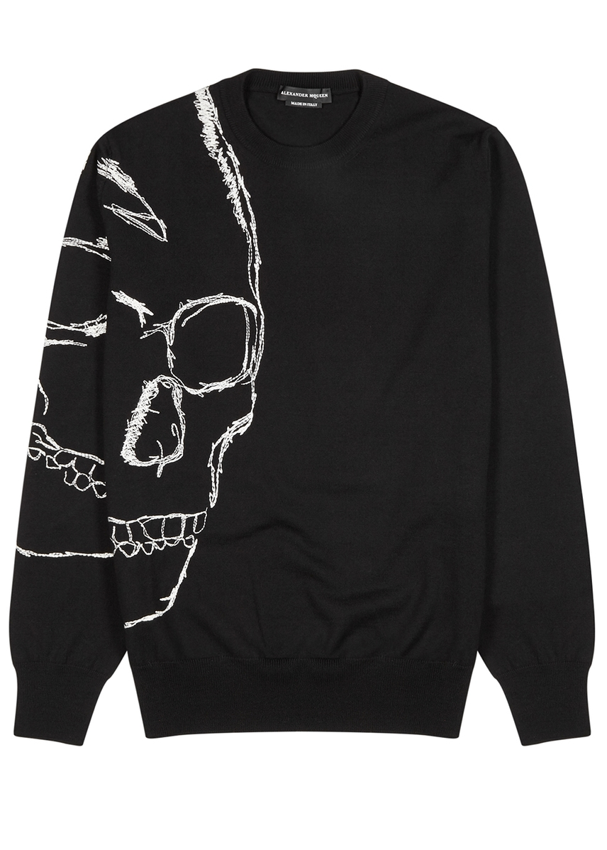 50000be23dd Black skull-embroidered wool jumper Black skull-embroidered wool jumper. Alexander  McQueen