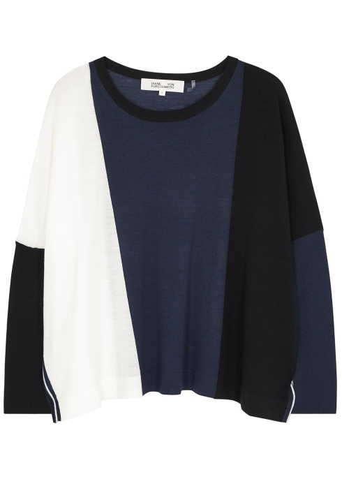 e99b0571c009b Diane von Furstenberg Danna colour-blocked wool jumper - Harvey Nichols