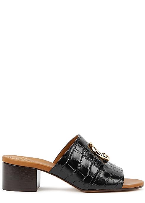 73e874b6b Chloé 50 crocodile-effect leather mules - Harvey Nichols