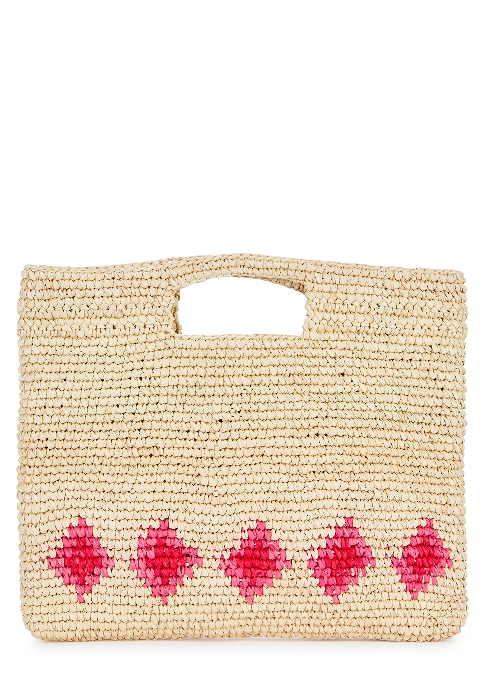 Celina Sand Straw Tote in Red