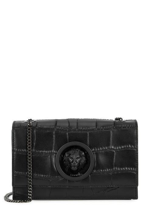 098b6c9ea040 Versus Versace Black crocodile-effect leather shoulder bag - Harvey ...