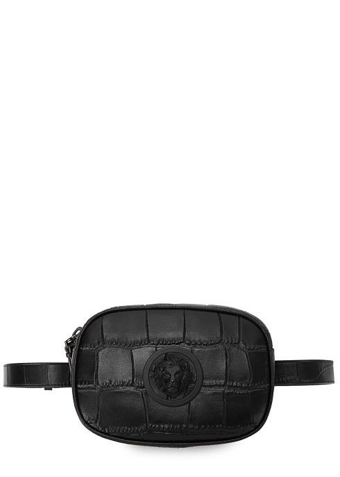 a6eaa3da90d3 Versus Versace Black crocodile-effect leather belt bag - Harvey Nichols