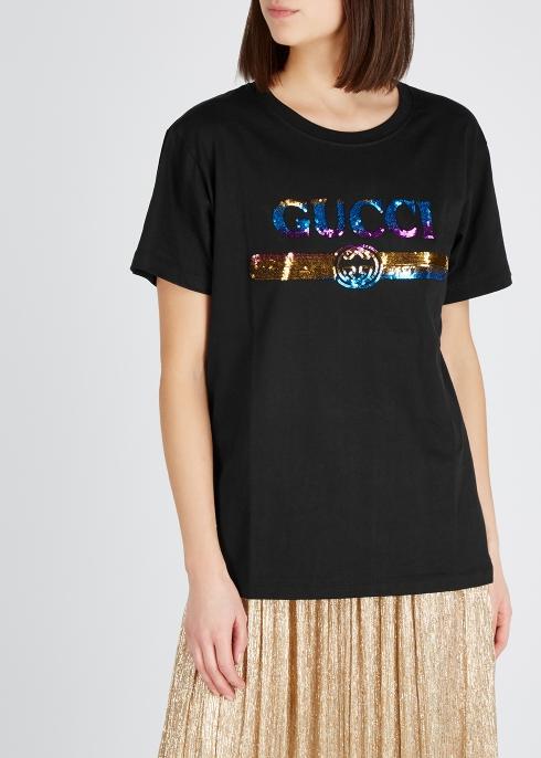 d1a002cc1 Gucci Black logo-embellished cotton T-shirt - Harvey Nichols