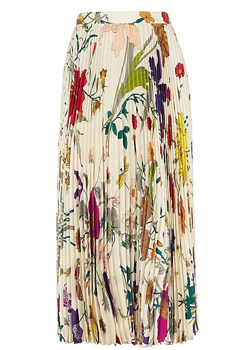 92cadf8811 Gucci Flora-print pleated silk skirt - Harvey Nichols