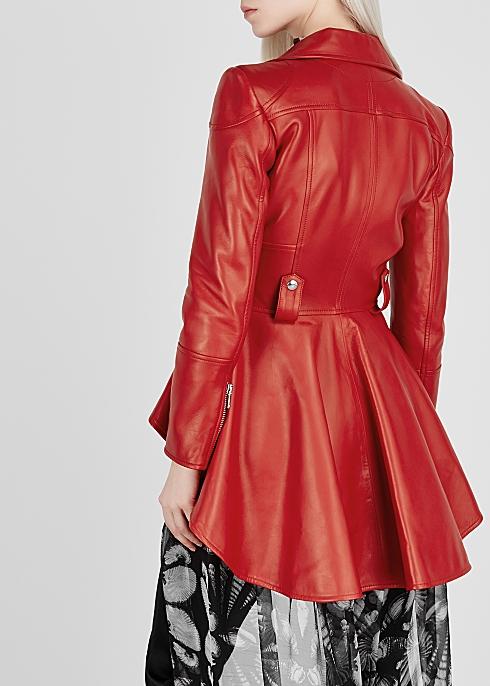 b069cdb35 Alexander McQueen Red peplum leather jacket - Harvey Nichols