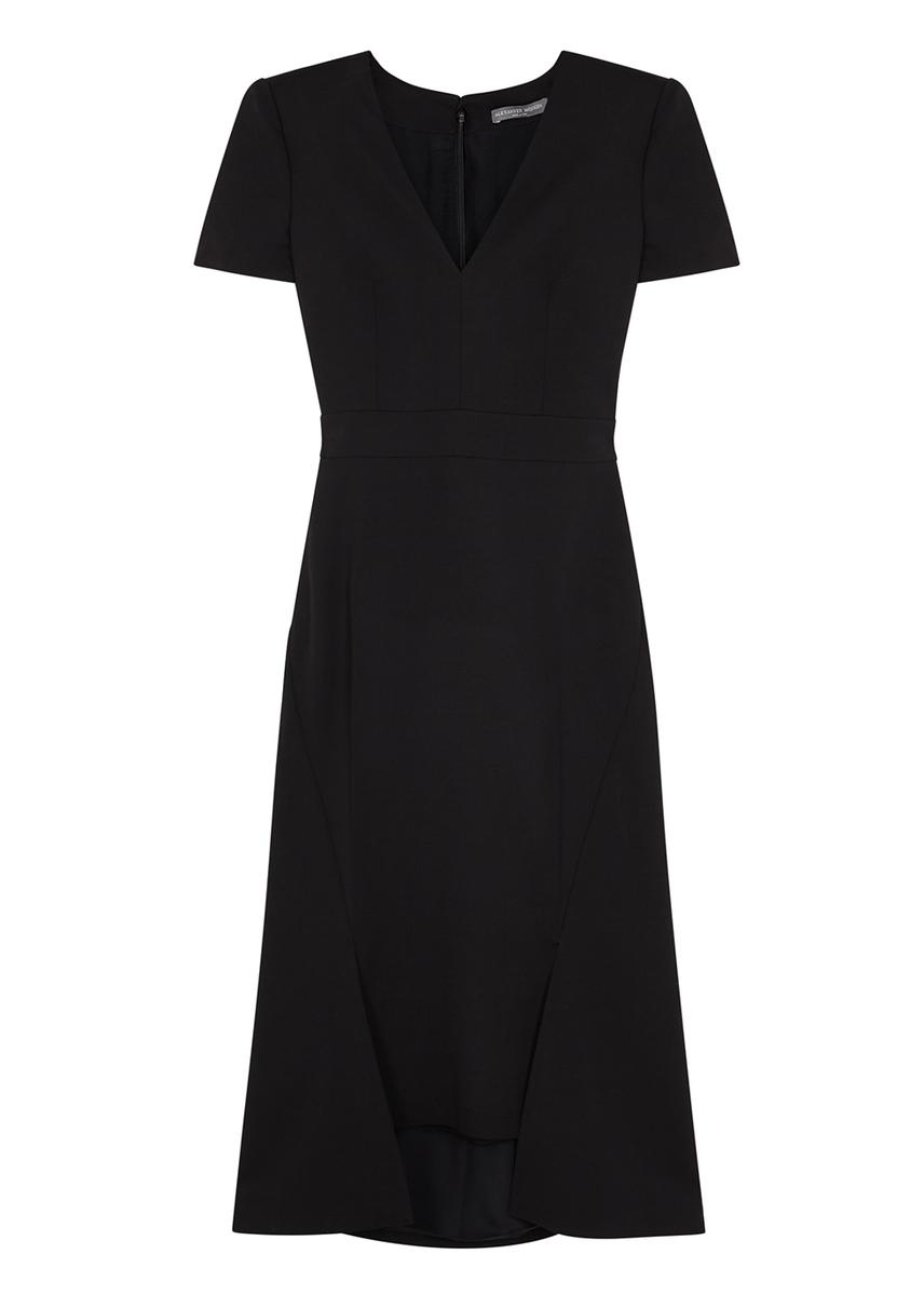 c9003d4fcfc Black twill midi dress ...