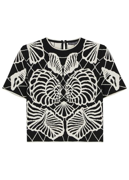 6bbee73703a7 Alexander McQueen Spine Shell jacquard-knit top - Harvey Nichols