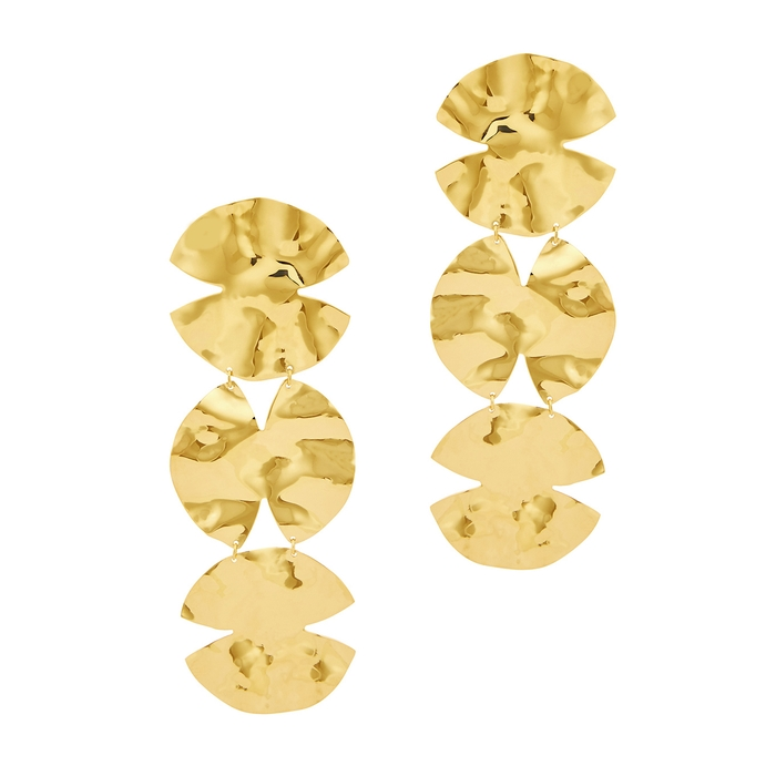 Anissa Kermiche Accessories TRIO ARCHITECT 18KT GOLD-PLATED DROP EARRINGS