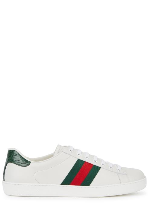 cbe565e81a2 Gucci Ace off-white leather trainers - Harvey Nichols