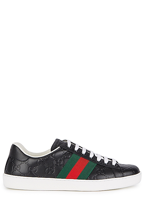 ef6b13cba9 Gucci New Ace black leather sneakers - Harvey Nichols