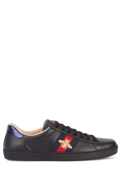 19b891f3a4e Gucci Ace embroidered leather trainers - Harvey Nichols