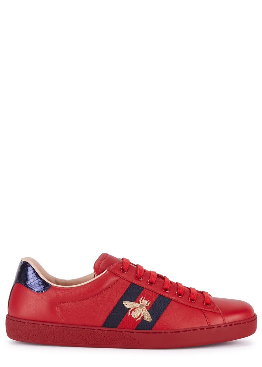 6f061857ac2 Ace red embroidered leather trainers Ace red embroidered leather trainers.  Gucci