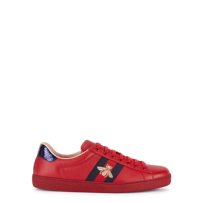 Gucci Ace Red Embroidered Leather Sneakers