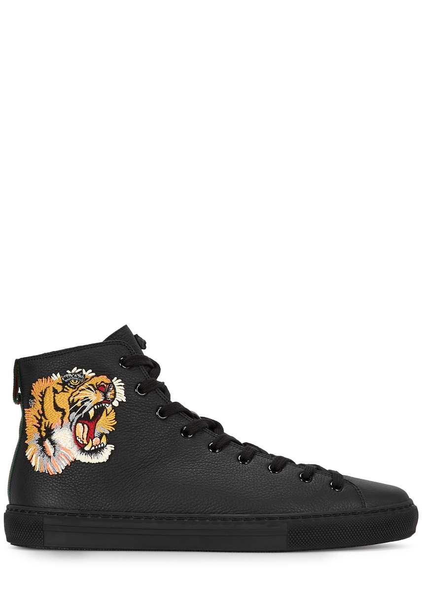 dd1d7460a2a Tiger-appliquéd leather high-top trainers ...