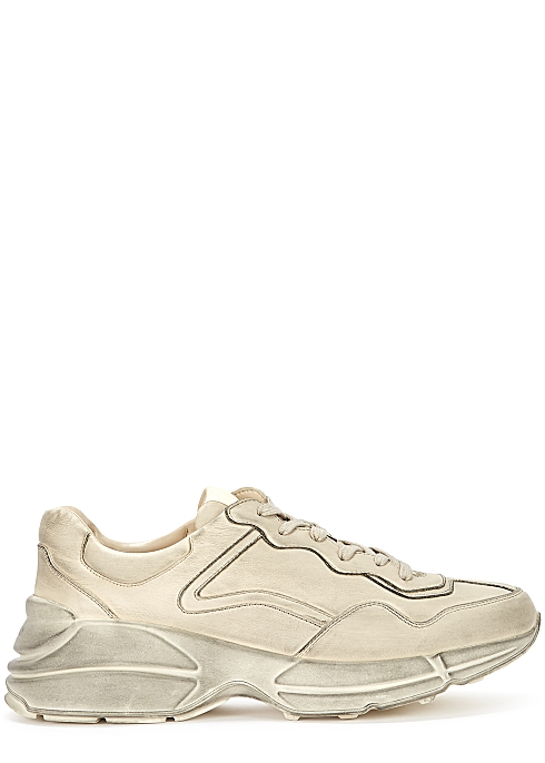 905fb2e69 Gucci Rhyton distressed leather sneakers - Harvey Nichols