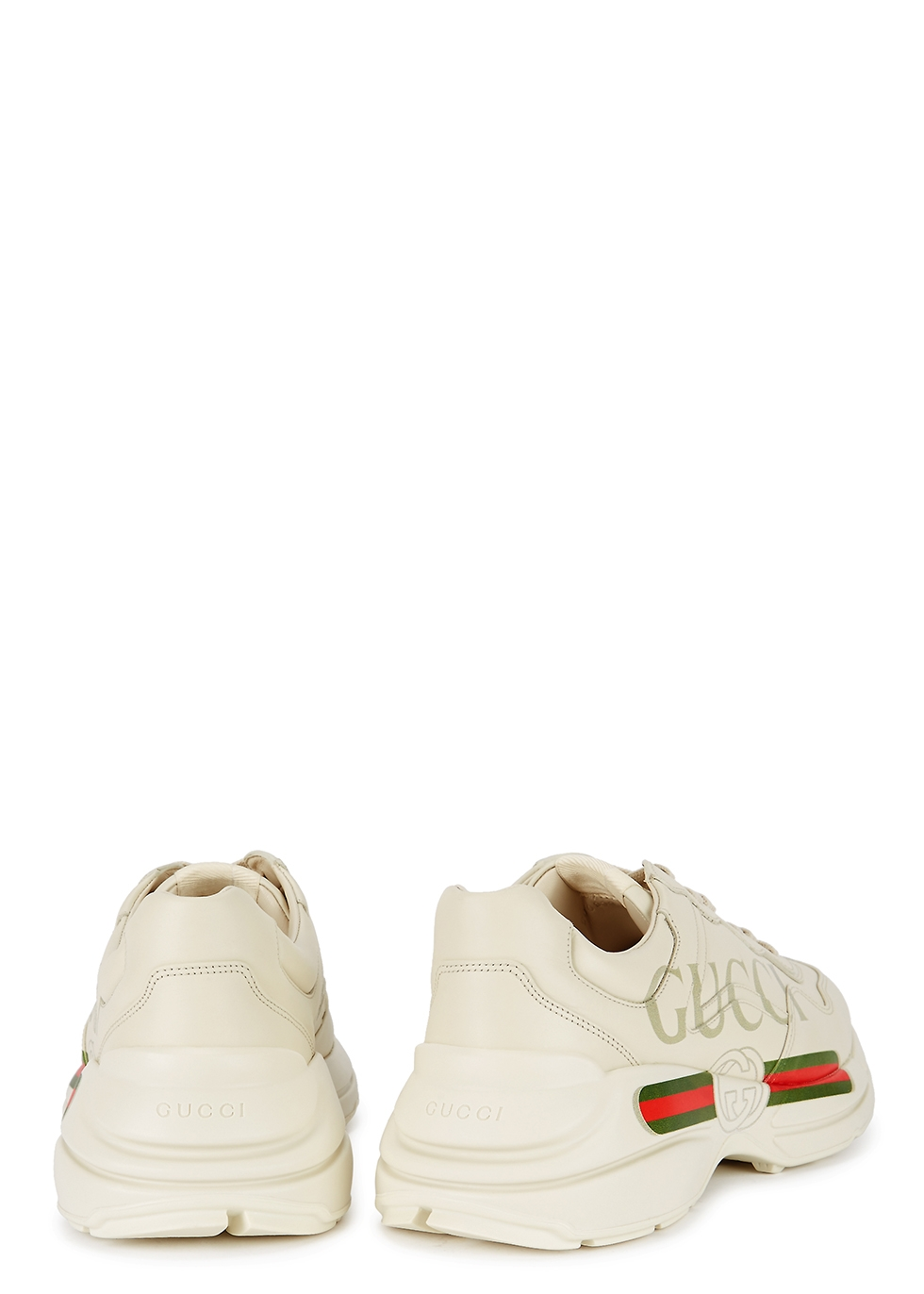Rython logo-print leather trainers - Gucci