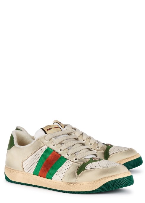 c5bde2e6bbe Gucci Screener distressed leather trainers - Harvey Nichols