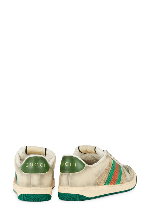 b56904b204d Gucci Screener GG distressed leather trainers - Harvey Nichols