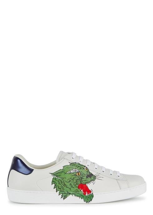 c0f7c832a45 Gucci New Ace tiger-print leather trainers - Harvey Nichols