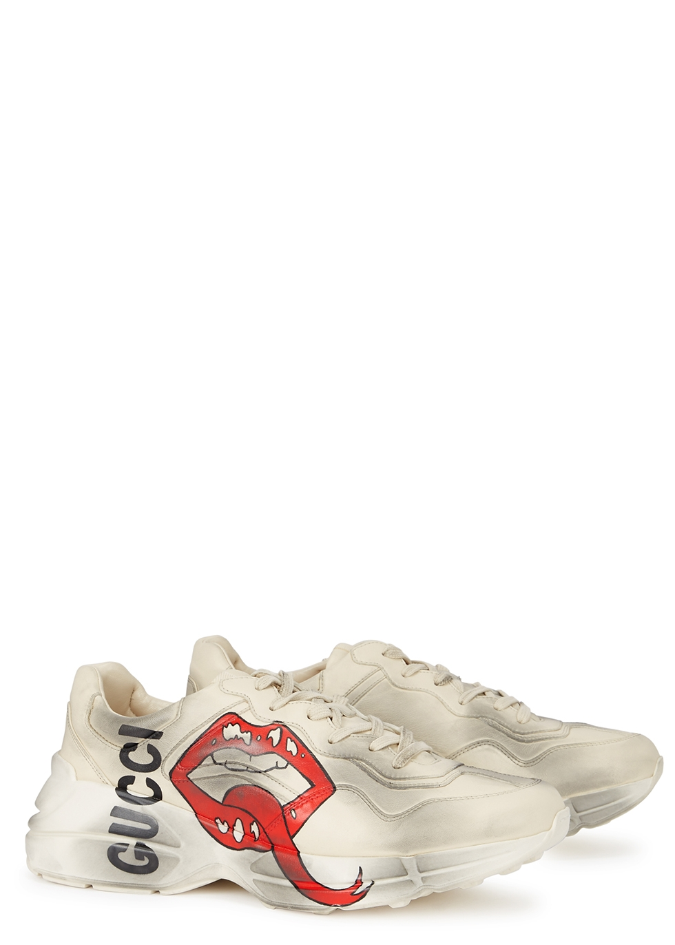 Rhyton printed leather trainers - Gucci
