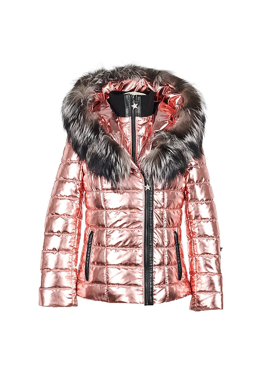 70568a824645 Popski London. Green parka jacket with natural raccoon fur collar. £249.00  · Aspen metallic jacket - rose gold ...