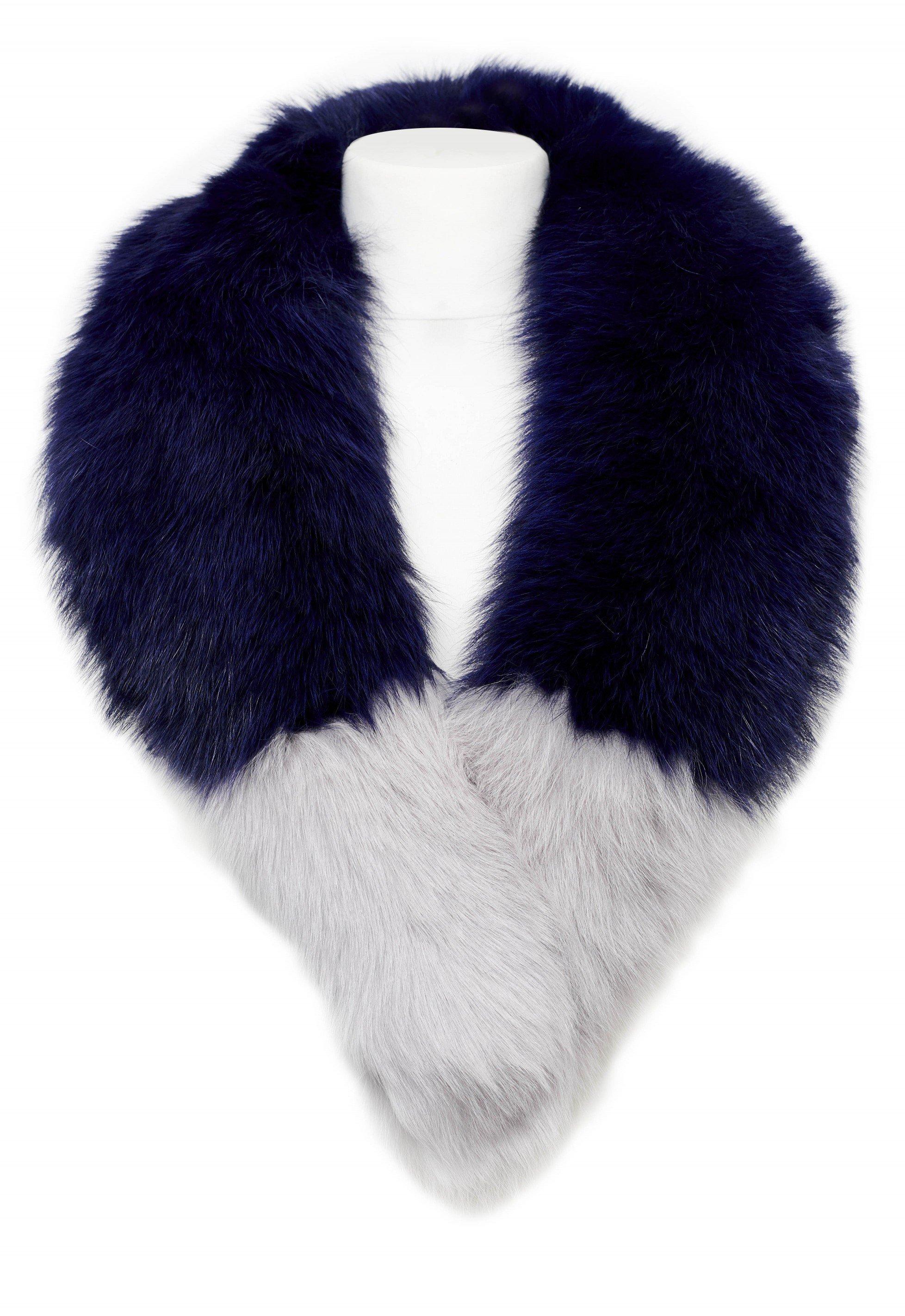POPSKI LONDON Navy Fox Fur Collar With Light Grey Tips