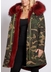 3 4 camouflage parka with burgundy fur collar and lining - Popski London