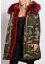 3-4 camouflage parka with burgundy fur collar and lining - Popski London