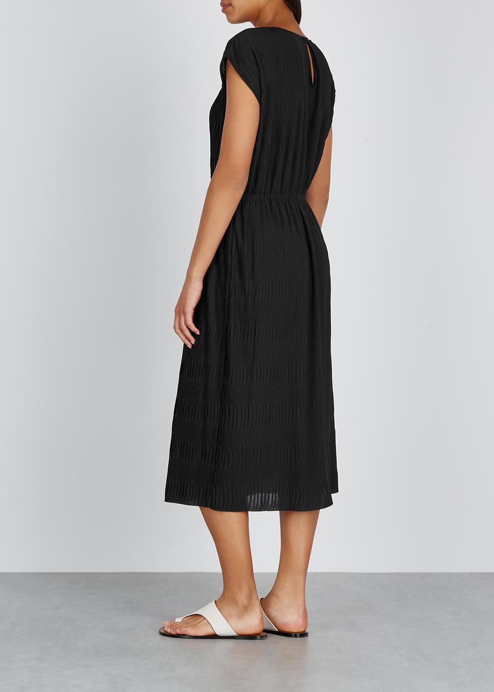 Black plissé midi dress - Filippa K
