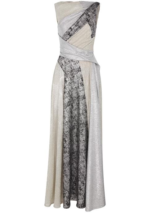 2457a740d69 Talbot Runhof Solymar metallic panelled gown - Harvey Nichols