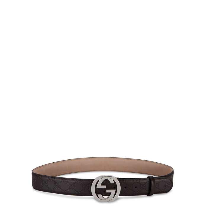Gucci GG Brown Monogrammed Leather Belt
