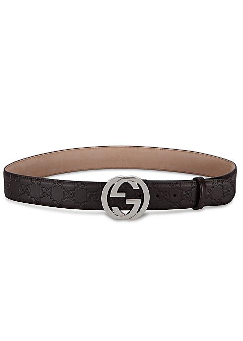 dd38c5213 Gucci GG brown monogrammed leather belt - Harvey Nichols