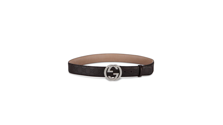 f0f4d020c Gucci GG brown monogrammed leather belt - Harvey Nichols