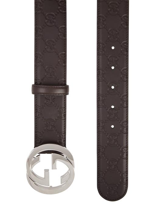 0602d23eb7d Gucci GG brown monogrammed leather belt - Harvey Nichols