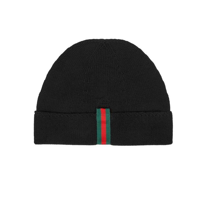 Gucci Black Fine-knit Wool Beanie