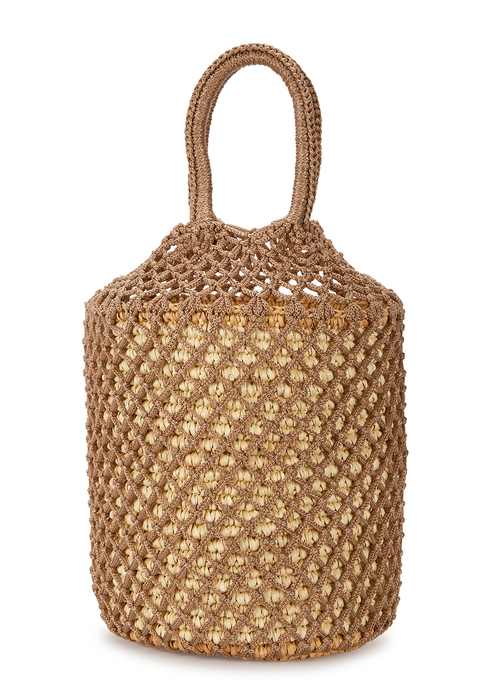 Straw and macramé bucket bag - Sensi Studio