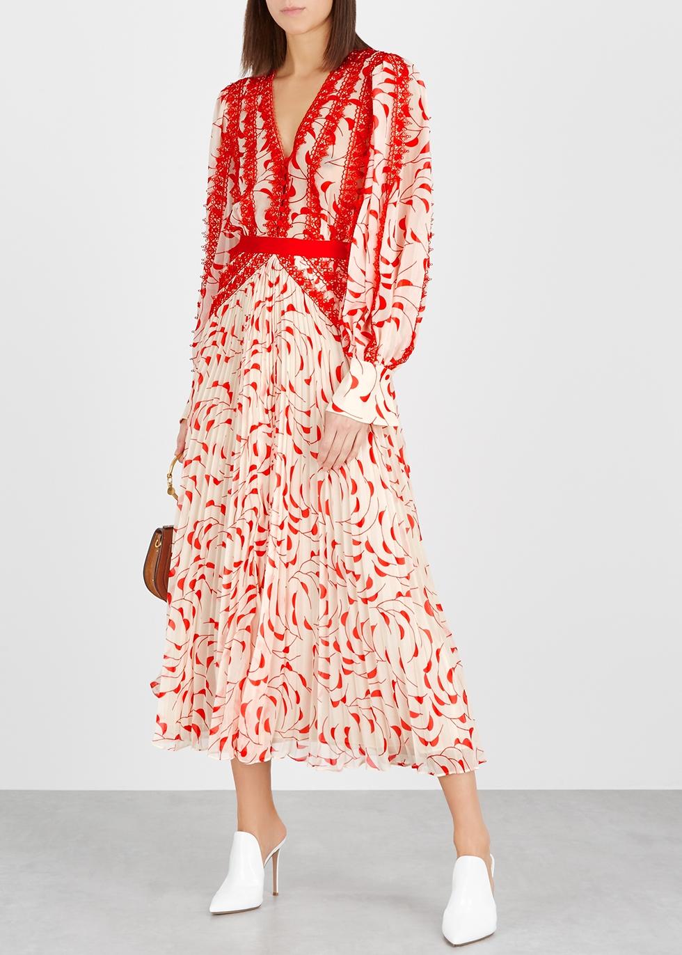 5f5c8c1985a7 SELF-PORTRAIT Crescent-print chiffon midi dress - Harvey Nichols