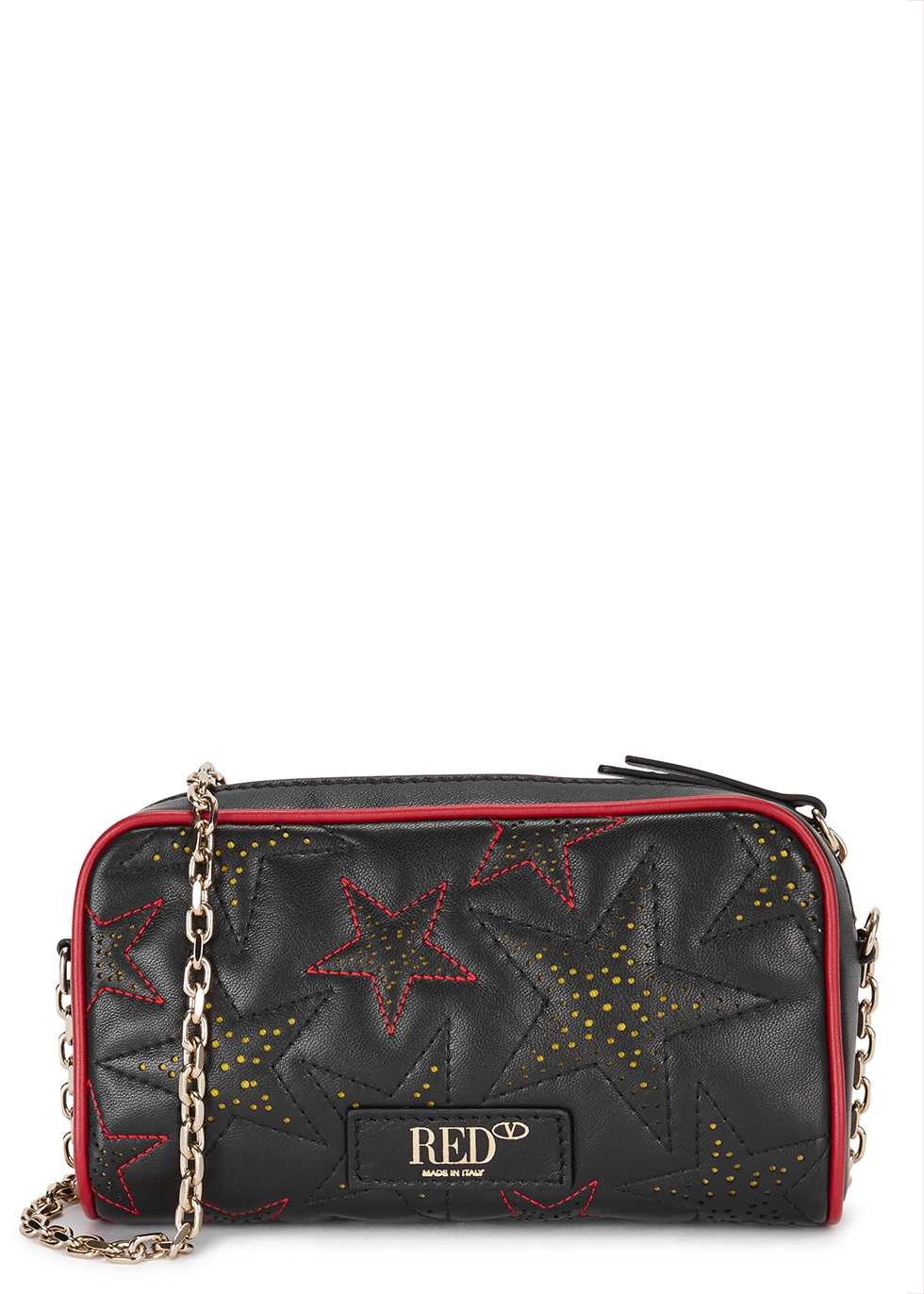 RED V Star-Embossed Leather Cross-Body Bag in Black And Red