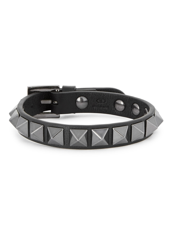 Spike Black Leather Bracelet