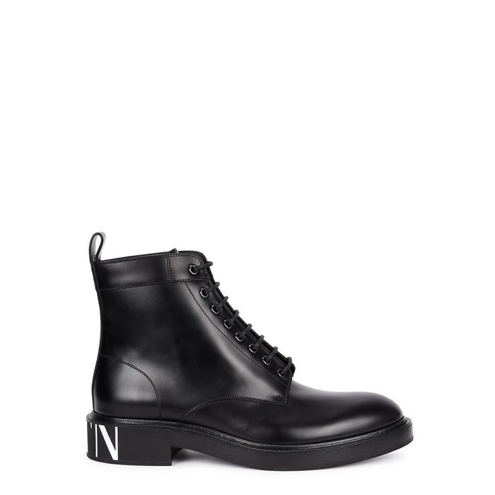 Valentino Garavani VLTN Black Leather Ankle Boots