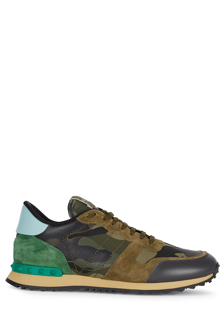 4e11378aca25fd Runner camouflage-print suede trainers ...