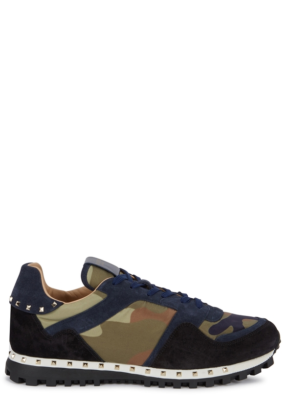 9c97b60a83fa Runner camouflage-print suede trainers ...