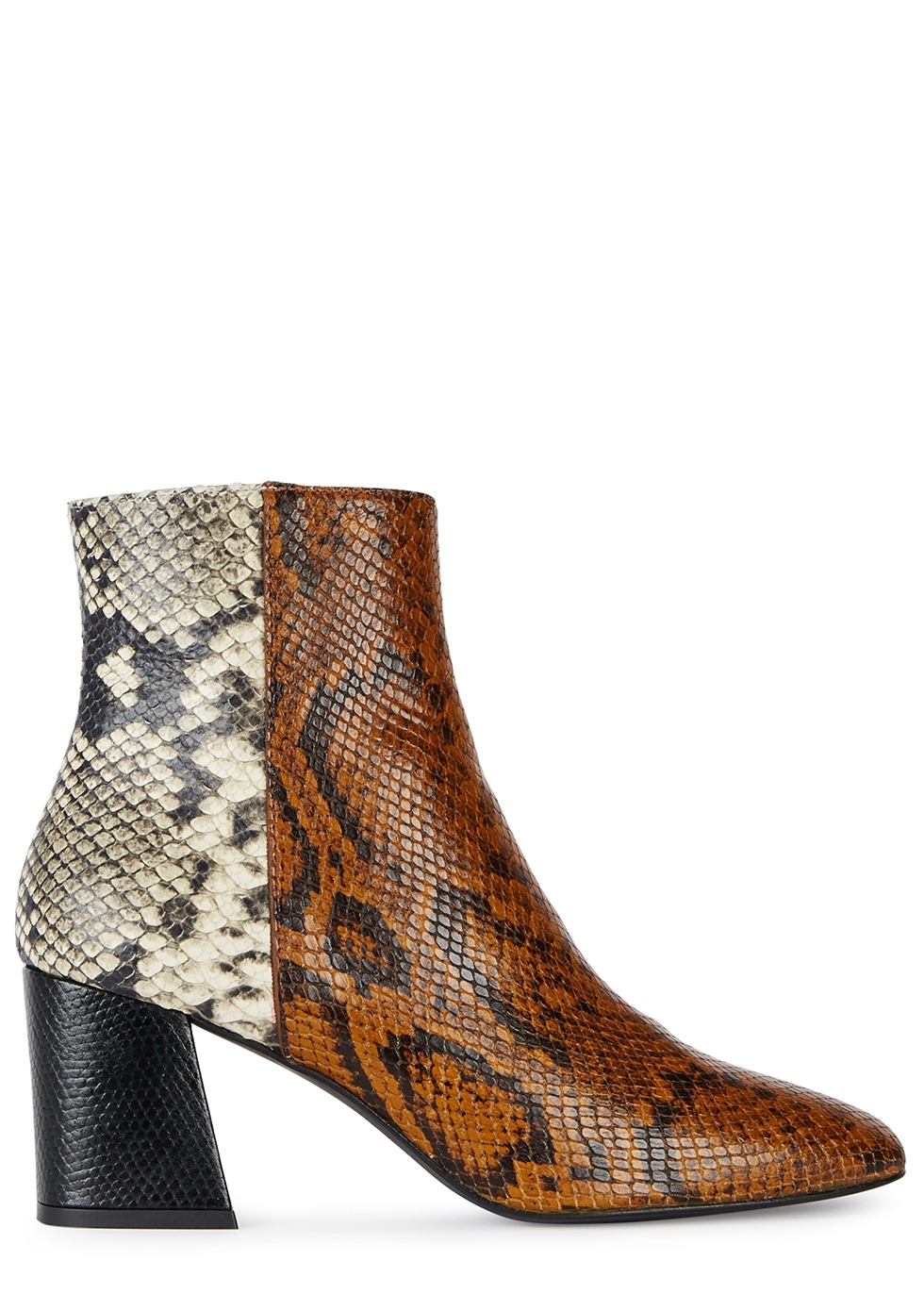 FREDA SALVADOR Charm Python And Leather Ankle Boots in Black