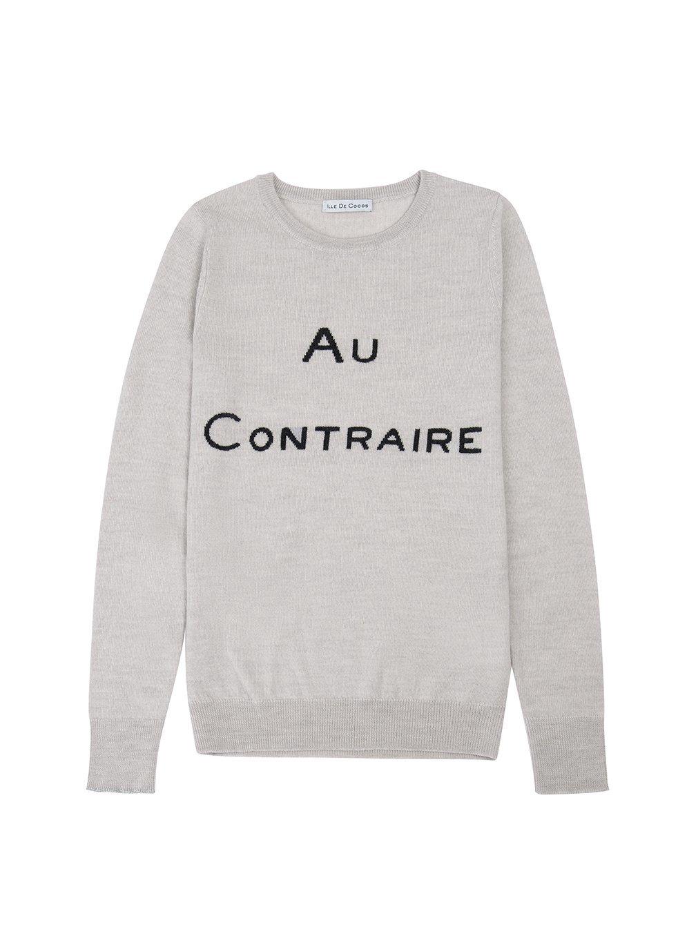 ILLE DE COCOS Au Contraire Merino Sweater Pebble Grey & Dark Grey
