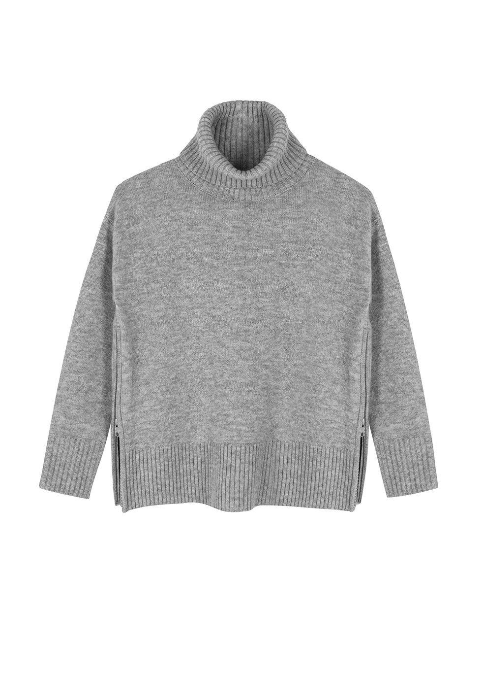 ILLE DE COCOS Ille De Cocos Side Zip Roll Neck Sweater - Silver Grey Marl