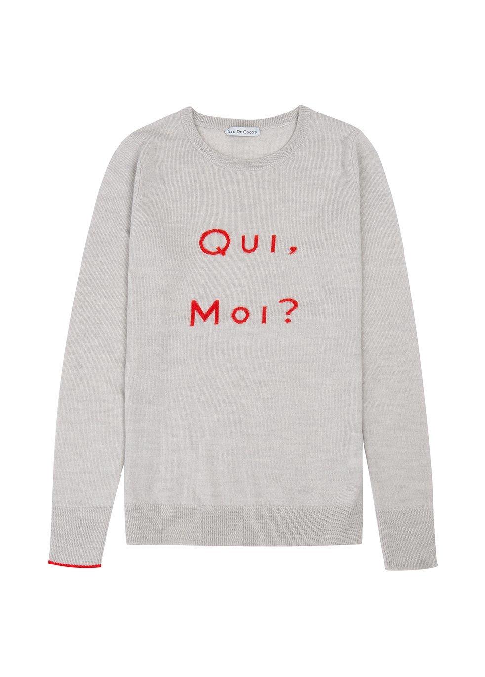 ILLE DE COCOS Ille De Cocos Qui Moi Merino Sweater - Pebble Grey- Red